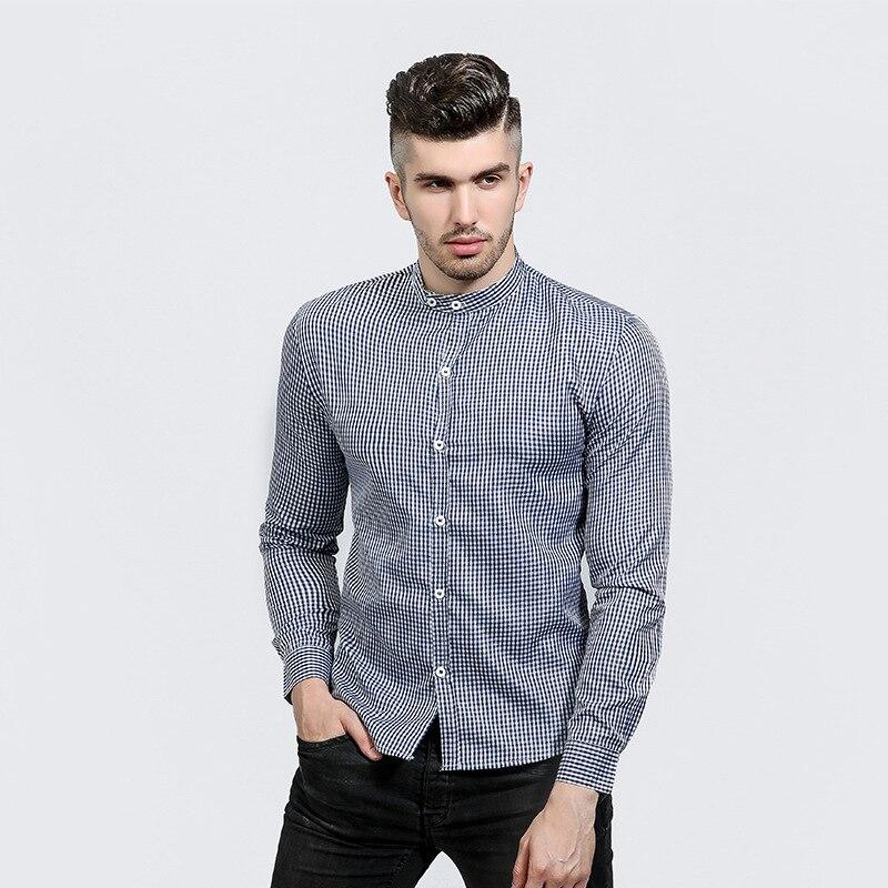 2017 Fashion Men Shirt Small Plaid Shirt Men Long Sleeve Slim Fit Camisa Masculina Casual Button Down Mens Dress Shirts Clothes