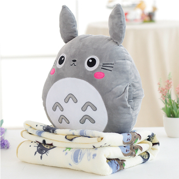 Candice guo! cute plush toy lovely My Neighbor Totoro soft cushion cartoon printing blanket creative birthday Christmas gift 1pc