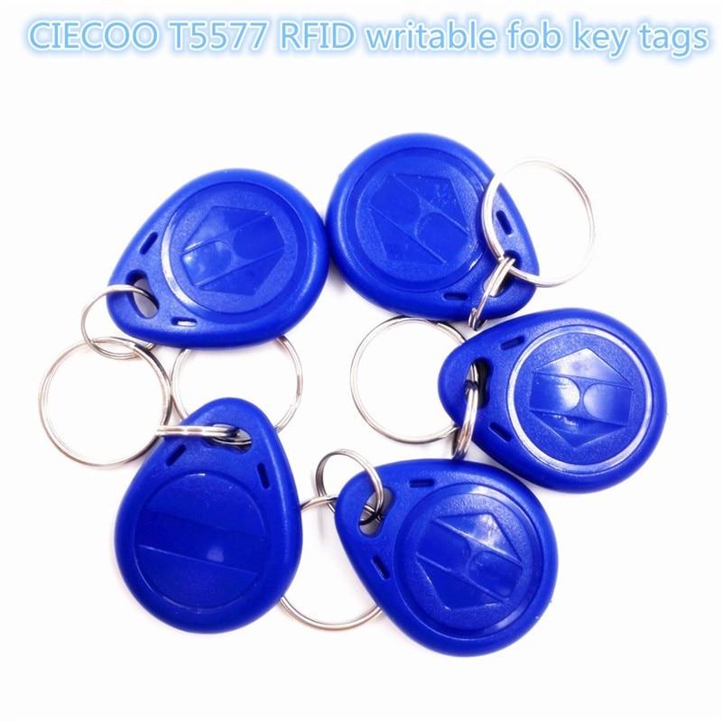 100 Pcs/lot Copy Rewritable Writable Rewrite EM ID keyfobs RFID Tag Key Ring Card 125KHZ Proximity Token Access Duplicate