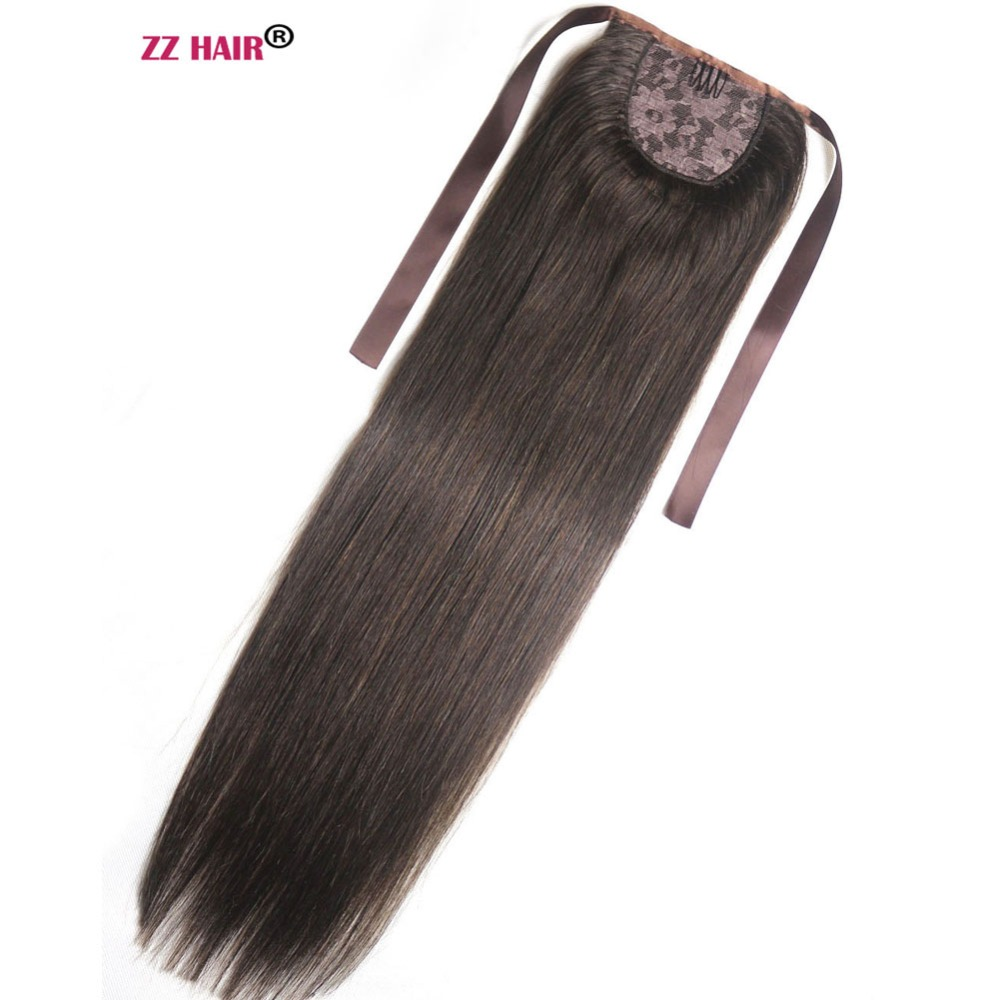 Ponytails Hair Pieces Aspiring Zzhair 120g 16-26 Machine Made Remy Hair Ribbon Ponytail Clips-in Human Hair Extensions Horsetail Natural Straight Hair Sale Price