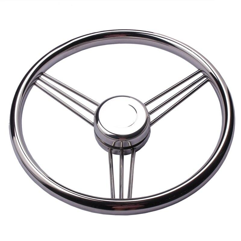 Black PU Foam for Marine Boat Hoffen 13.5 Stainless Steel Steering Wheel 5 Spokes with Knob