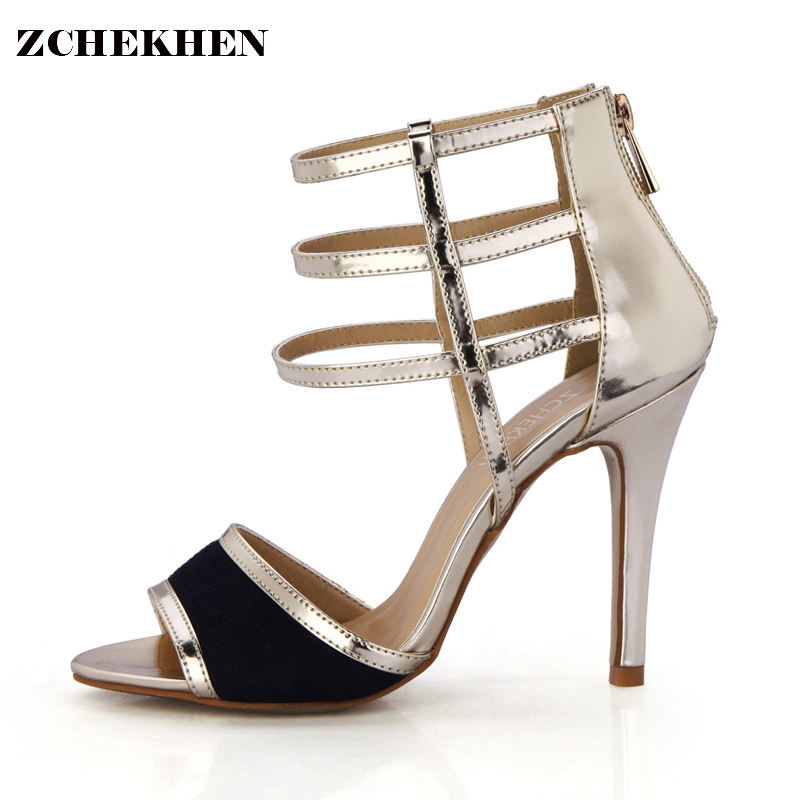Luxury Gladiator Sandals Women 10CM High Heels gold black strap Shoes Woman Elegant party Wedding Shoes Sandal 5186BT-2a