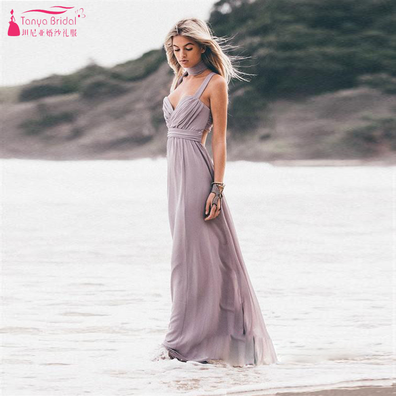 Gray Sexy Spaghetti Beach Bridesmaid Dresses Soft Chiffon