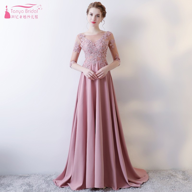 A Line Long Pink   Bridesmaid     Dresses   Lace Appliques Formal Wedding Party   Dress   vestidos dama de honor guest   Dress   JQ146