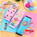 Korean Creative Macaron Pencil case Pencil Box Pencil Bag Leather  Kawaii Stationery  Pouch Office School Supplies Zakka