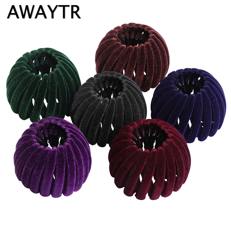 AWAYTR New Retro Bird Nest Ball Hair Claws For Women Hairpin Girls Headwear Ponytail Holder Hairgrips Ladies Hair Accessories