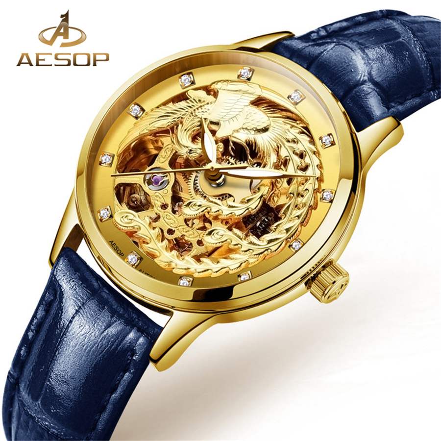 2018 AESOP Fashion Elegant Women Mechanical Wrist Watches Leather Watch band Female Automatic Clock Gold Skeleton Watch Womens цена
