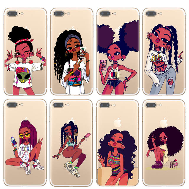 huge selection of 1eebb 25346 US $0.68 30% OFF|Afro Black Girl Magic Melanin Poppin Art phone Case For  iPhone 7 5S SE 6s Soft TPU Silicone Phone Cover For iPhone 8 Plus X Case-in  ...