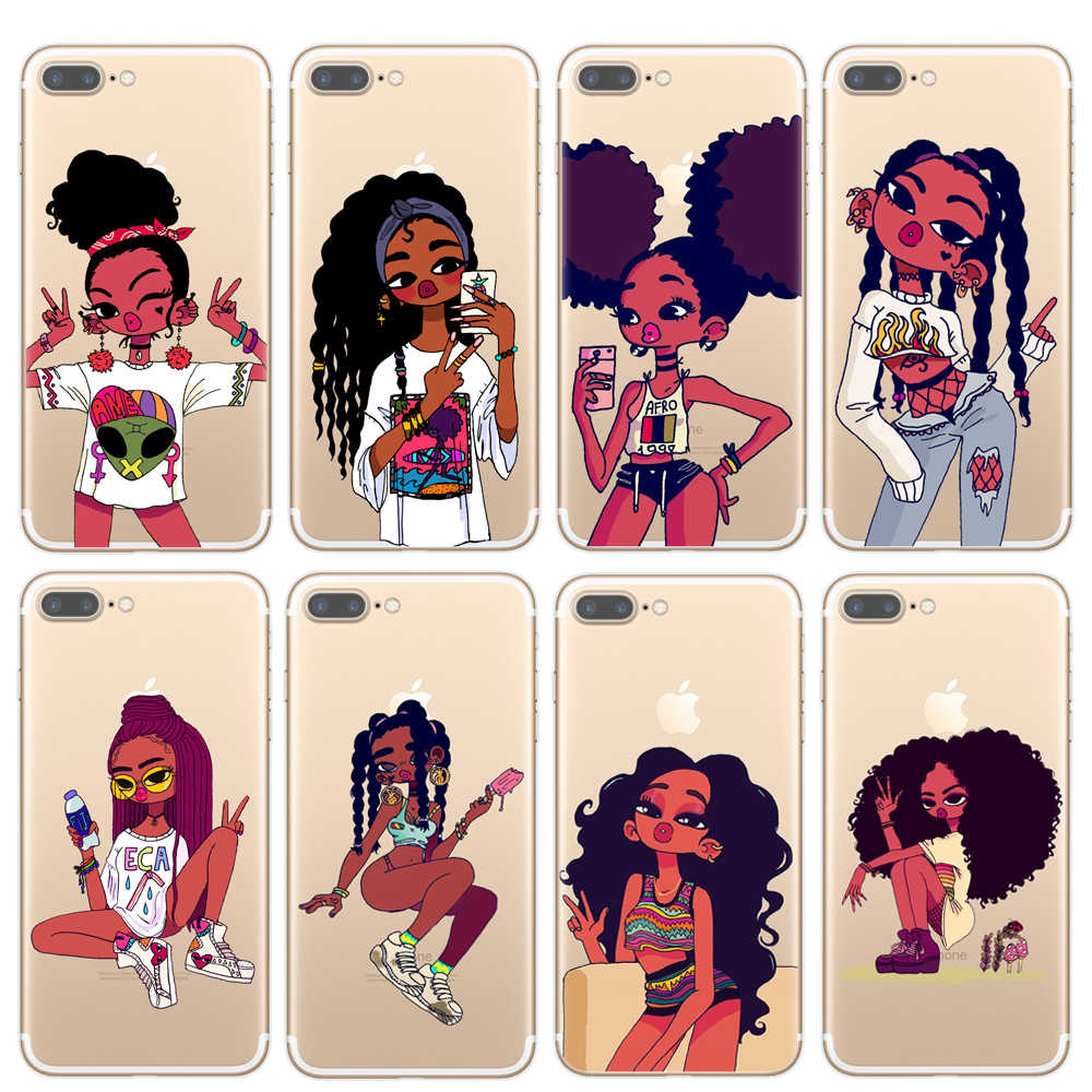huge selection of 9cd89 f5acf Afro Black Girl Magic Melanin Poppin Art phone Case For iPhone 7 5S SE 6s  Soft TPU Silicone Phone Cover For iPhone 8 Plus X Case