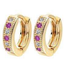 Очаровательные серьги позолоченные женские кольца инкрустированные