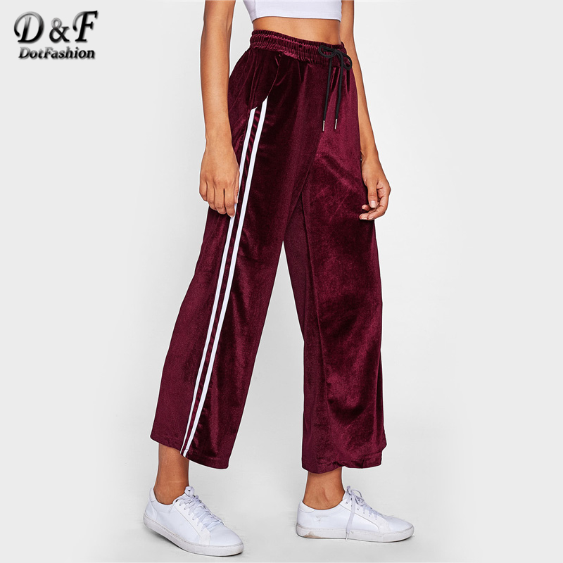 Dotfashion Striped Tape Side Velvet   Wide     Leg     Pants   2019 Autumn Burgundy Mid Waist Trousers Woman Elastic Waist   Pants
