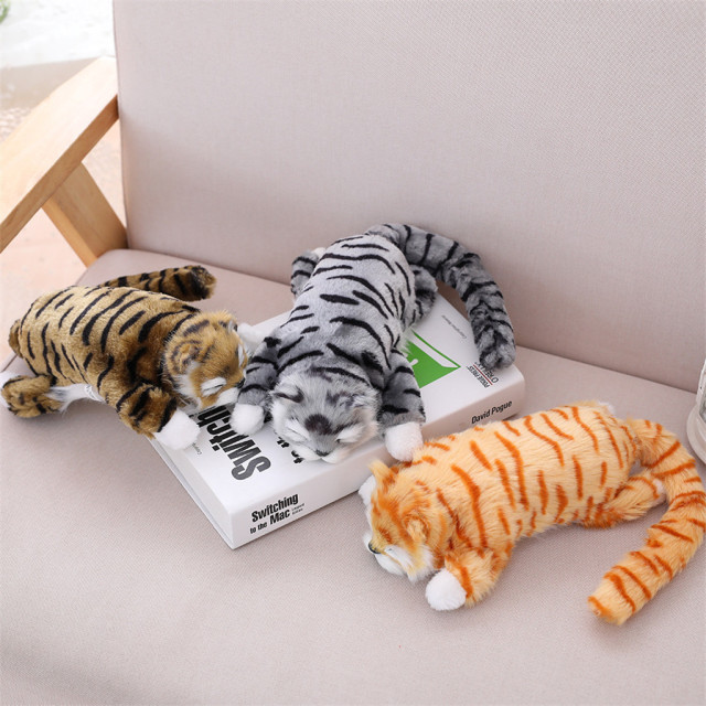 Electric Cat 30cm Funny Simulation Electric Cat Roll Plush Animals Cats Toys Kid  Cute Toy Kid Child Christmas Gift Fun Cute