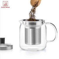 Samadoyo 500ml Tea Tet China Heat resistant High Borosilicate Glass Teapot With Stainless Steel Filter Coffee Tea Cup S042