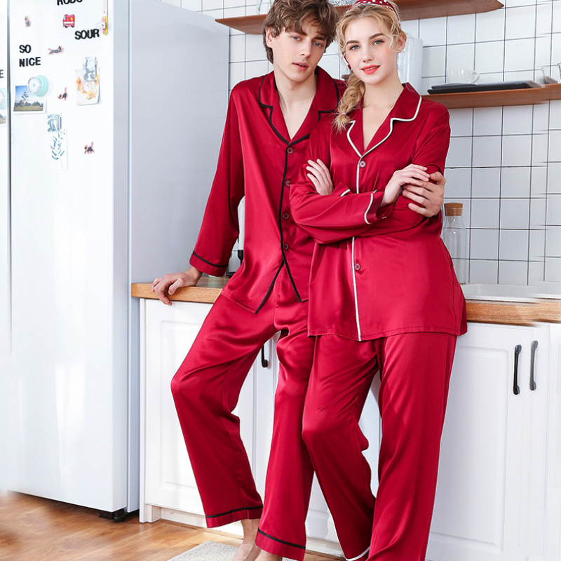 SSH0311   Pajama   High Quality Men Women   Pajama     Set   Spring Full Sleeve Long Pants 2pcs Pyjamas Couple Lovers Silk Sleepwear Pijamas