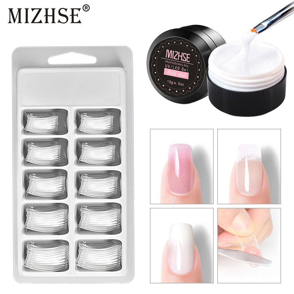 MIZHSE Poly Gel Kit UV LED Nail Builder Gel Primer Base Top Coat 15g Polygel Quick Nail Extension Hard Gel Solution Nail Art Set