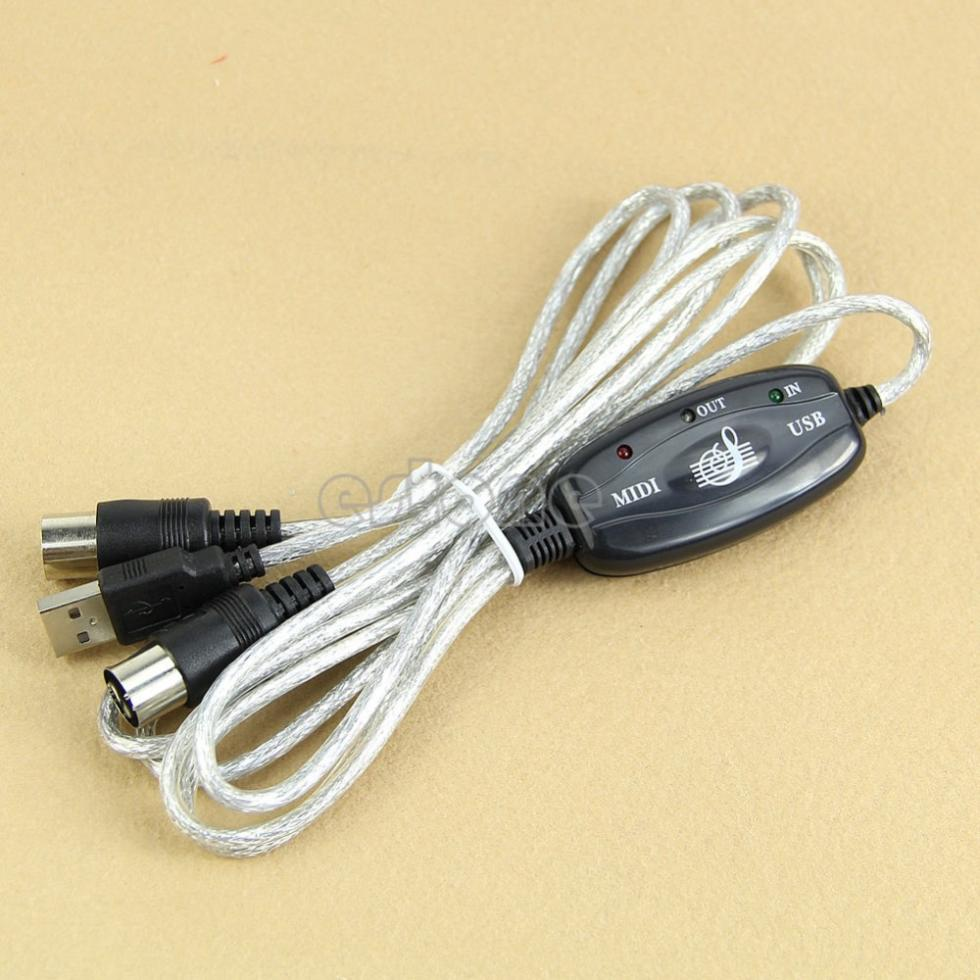 MIDI USB IN-OUT Interface Cable Cord Line Converter PC to Music Keyboard Adapter