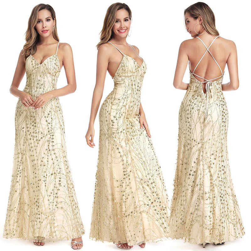 Sequined   Prom     Dresses   Long Sleeveless Sparkle V-Neck Sexy Backless Mermaid Ladies Evening Party   Dresses   2019 Vestidos De Gala