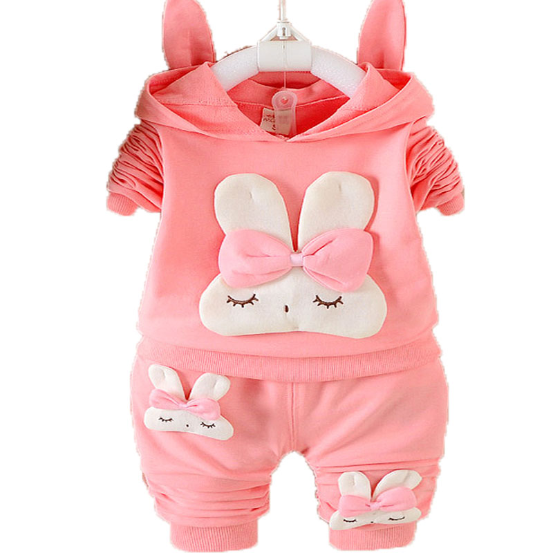 Baby Girls Overalls Autumn children clothing sets Hooded T-Shirt + pants clothing suit Rabbit Girls clothes newborn tracksuit