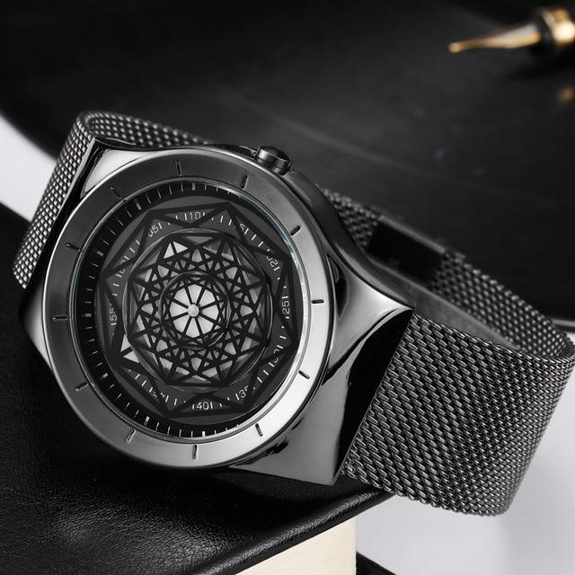 Geek Watches Men Minimalist Turntable Dial Quartz Watch Clock  Leather Mesh Band Male Wristwatch Relogio Masculino Gift For Men 1