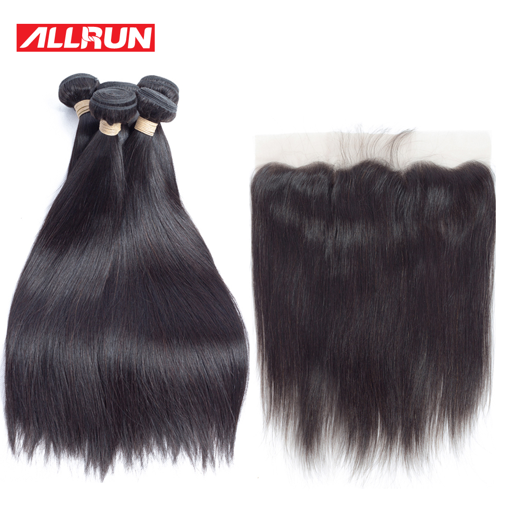 Allrun Peruvian Hair Products 4 Pc Straight Human Hair Bundles With 13*4 Lace Frontal Non Remy Hair Weft Hair Weave