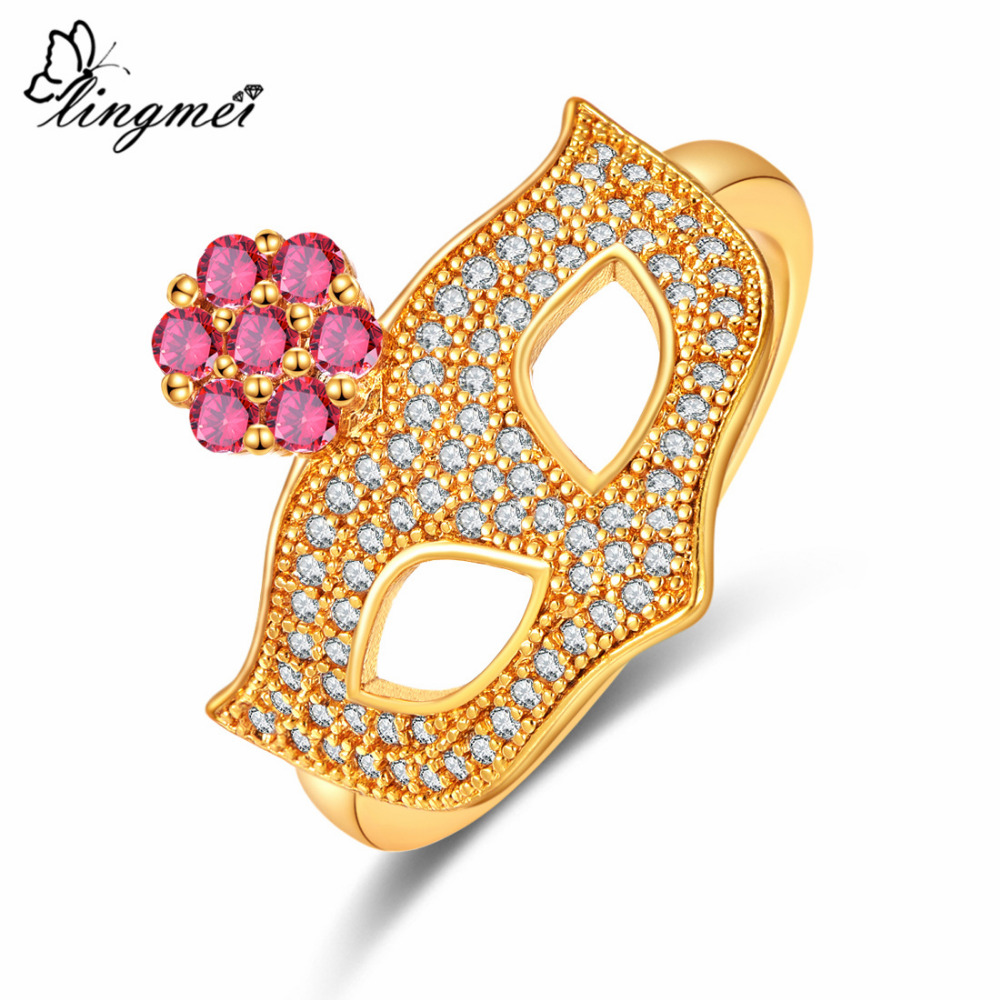 Lingmei Mask Shaped Unique Wedding Rings Zircon Silver 925 Jewlery Yellow Gold Color Ring Size 6 7 8 9 Flower Style