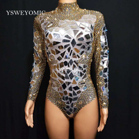 High Quality Rhinestones Flashing Mirrors Bodysuit Women's Birthday Prom Celebrate Outfit DJ Women Dance Show Sexy Clothes