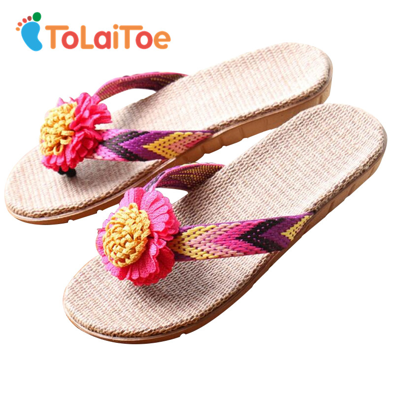 ToLaiToe National Home Floor Slipper Women Artificial Flowers Linen Summer Cool Slippers Silent Sweat Sandals Flip Flops tolaitoe autumn