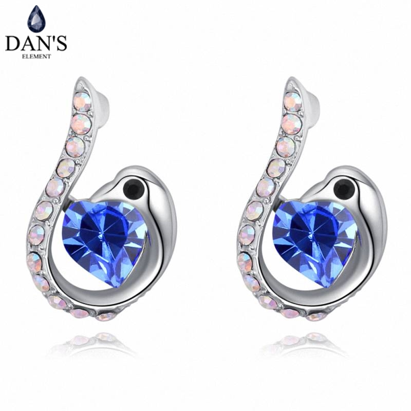 DANS 5 Colors Real Austrian crystals Stud earrings for women Earrings s New Sale Hot Round 129568