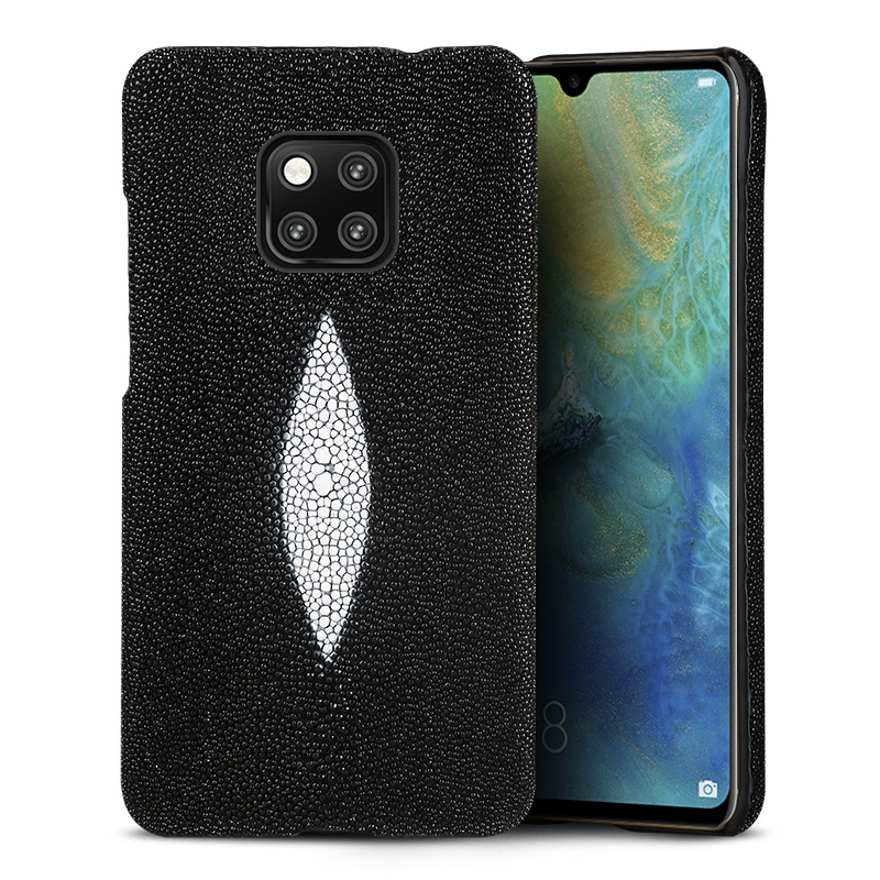 natural Pearl fish luxurious phone case For Huawei mate 20  Breathable Earthquake resistance Genuine Leather protective