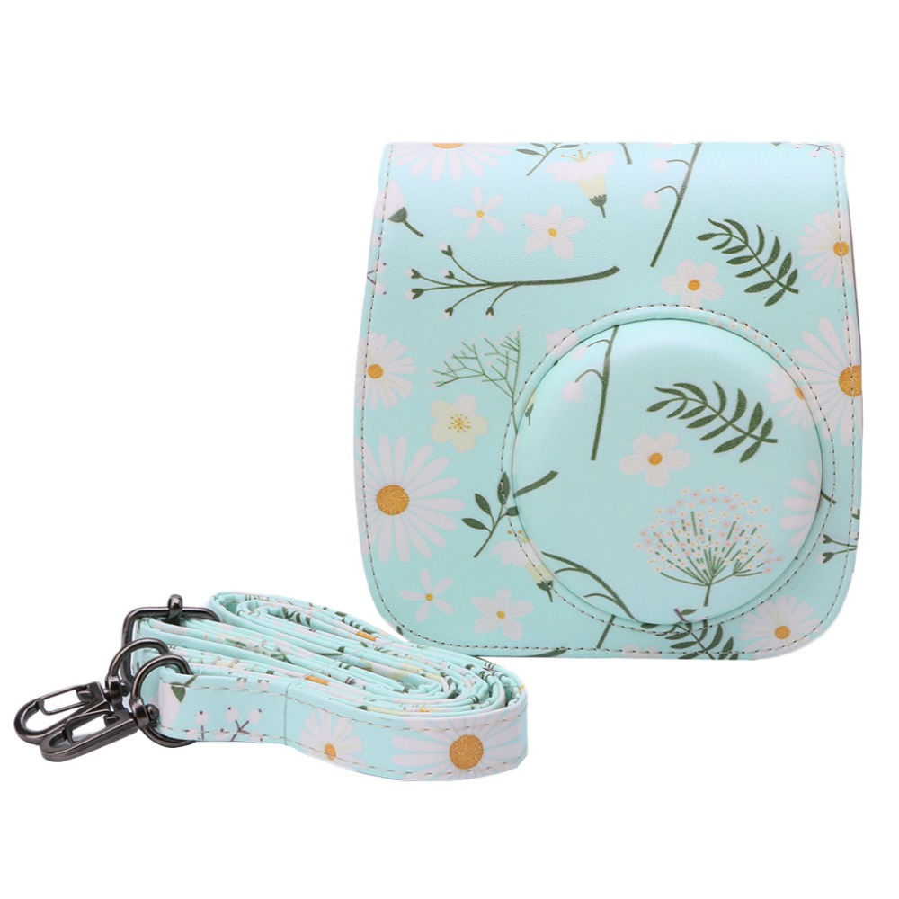 Vintage Faux Leather Floral Camera Protector Case Shoulder Bag Detachable Cover For Polaroid Camera Fujifilm Instax Mini8