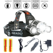 13000LM LED L2+2R5 Headlamp Headlight Head Lamp lighting Light Flashlight Torch Lantern Fishing+18650 battery+Car USB AC Charger