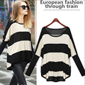 Plus Size Spring Autumn Batwing Sleeve Striped Knitted Pullover Sweater Women Loose Jumper Poncho  B305