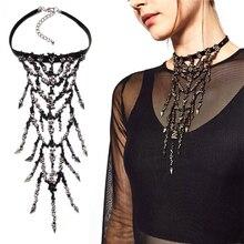 2016 Nuevo Collar de Cristal Con Incrustaciones de Perlas Borla Colgante de Collar de Declaración ZA Mujeres Boho Negro Velvet Rivet Gargantilla Collier Joyería