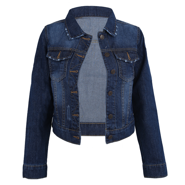 SAF-Women Lapel Cropped Denim Jeans Long Sleeve Jacket Coat Short
