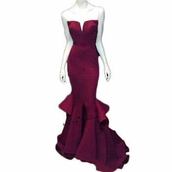 Women Cheap Mermaid Formal Evening Gowns Burgundy Long Prom Dresses to Party 2018 Robe de Soiree Courte Split Side Ruffles