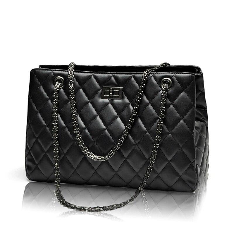 2017 Fashion Woman Big Embroidery Bags Ladies Luxury Handbag Women Plaid Chain S