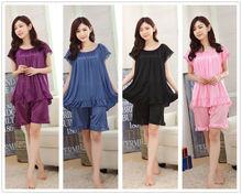 Pure Color Smooth Silk Women Sleepwear Pajama Set Nightwear Shirt Shorts 2Pcs