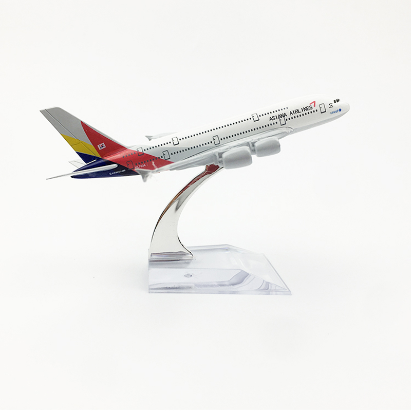 Asiana Airlines Aeroplane Model Airbus A380 Airplane 16CM Metal Alloy Diecast 1:400 Airplane Model Toy For Children Free Shippin