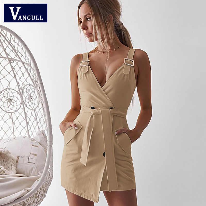 Vangull сексуальное летнее платье с высокой талией женское офисное короткое Клубное платье с открытой спиной 2019 новое летнее Элегантное повседневное платье с v-образным вырезом и поясом
