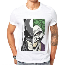 2019 Newest Popular Mens T-Shirt Batman And Joker Printed 100% Cotton O-Neck Short Sleeve Man Tops Tee Shirts Funny Men T Shirt