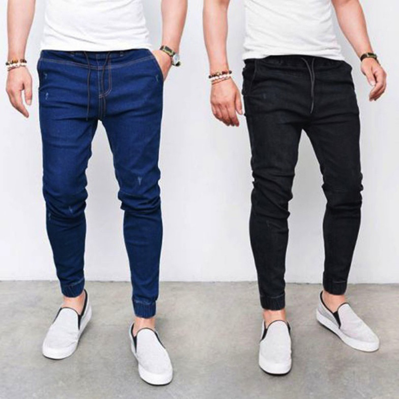 Men denim ripped hole slim   Jeans   stretchy elastic Fashion   Jeans   Hip hop Skinny pencil   Jeans   For Men stretch black   jeans   homme