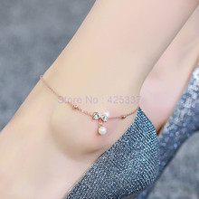 Top Quality 18KGP Rose Titanium Steel Bowknot Pearl Anklet Women's Fashion Brand Jewelry Free Shipping (GA015)