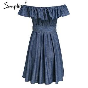Image 5 - Simplee Vestido corto de volantes para mujer, vestido informal de algodón con botones, sin espalda y en amarillo para verano