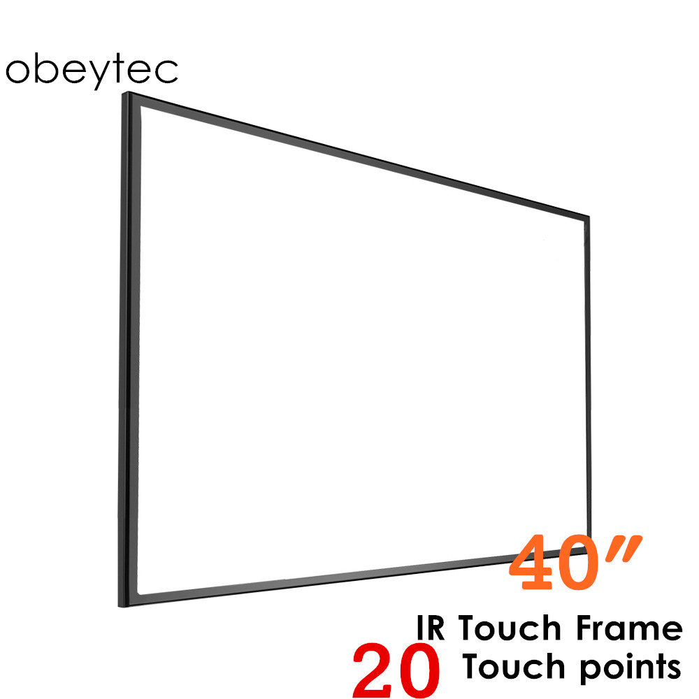 Obeytec 40 IR Touch Frame Overlay, 20 Touches, Easy assembly, Highly Compatible for windows/ Android/ Linux/MAC