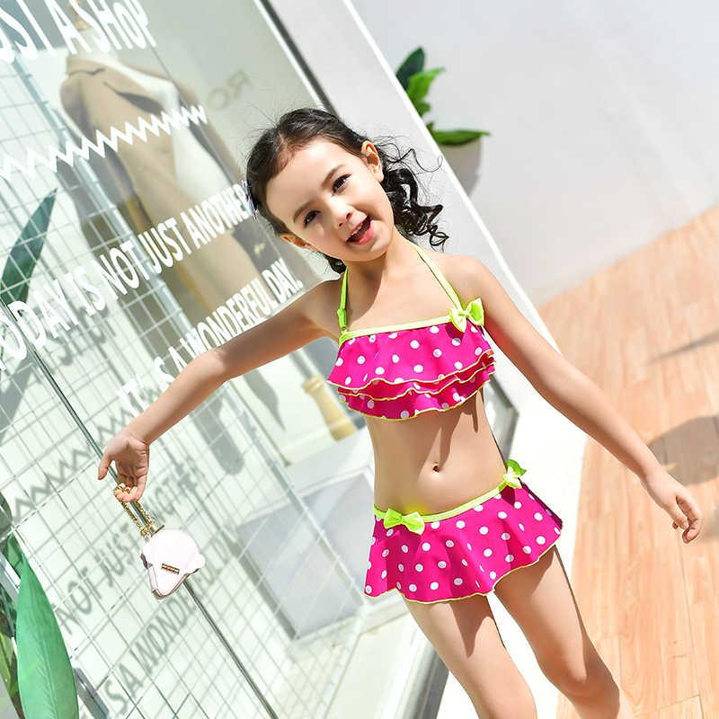 Baju Renang Anak Perempuan 2018 Baru Dua Potong 4 Warna Putih Dot Bikini Set Gadis Tanpa Lengan Gaun Pendek Olahraga Renang Baju Renang anak Perempuan