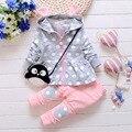 2pcs Children Toddler Girl Clothing Sets 2017 Spring New Dot Print Hooded Coat Tops for Girl Infant Children Pants Trousers