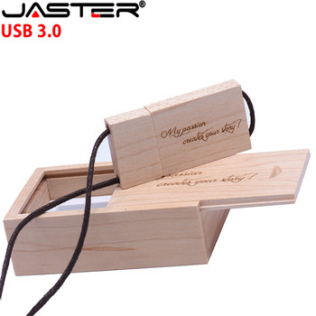 JASTER (over 1 pcs free LOGO)The New USB 3.0 Wooden stick + box USB Flash Drive  8GB 16G 32GB  pen drive photography wedding gi