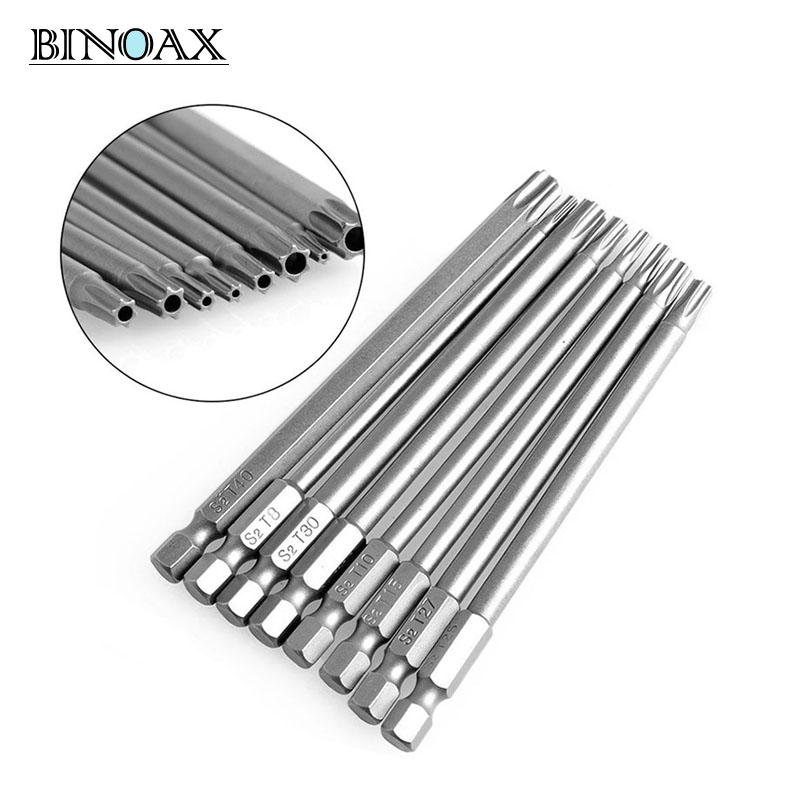 Binoax 8Pcs/set 100mm Long Steel Magnetic Torx Hex Security Electric Screwdriver Bit Set For Magnetic Screwdriver Bit Tool Set цены