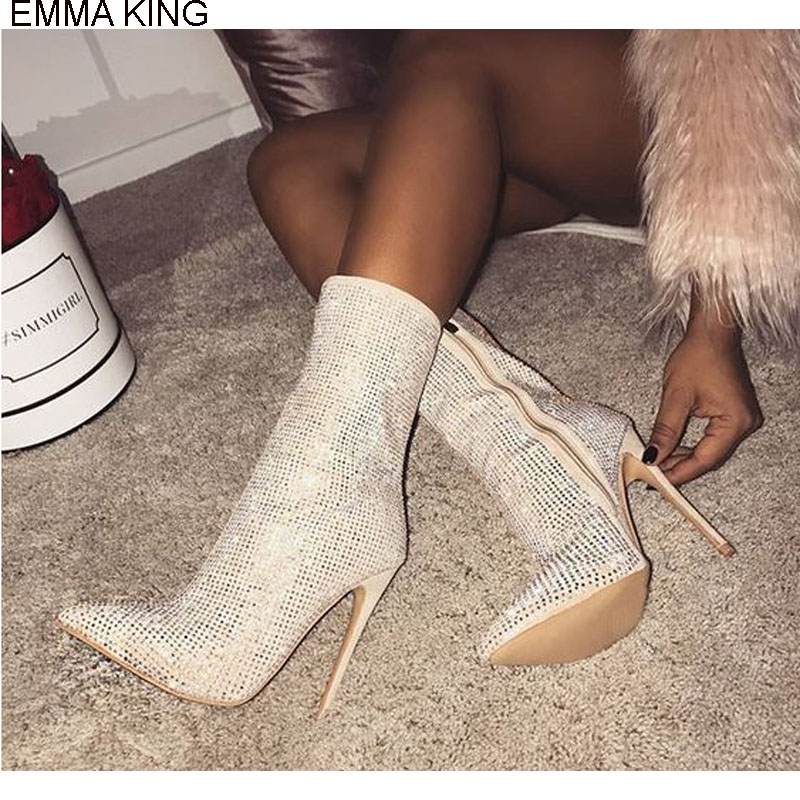 EMMA KING 2018 Hot Sell Fashion Summer Sexy High Heels Woman Party Zipper Mid-Calf Hot Drill Thin Heels Model Pointed Toe BootsEMMA KING 2018 Hot Sell Fashion Summer Sexy High Heels Woman Party Zipper Mid-Calf Hot Drill Thin Heels Model Pointed Toe Boots
