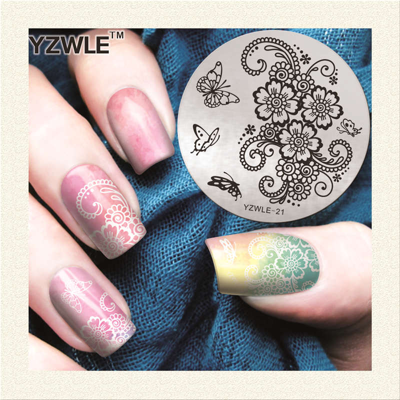 2017 new polish nail stamping plates vine butterfly designs stencil nail art stamp diy beauty